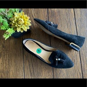 Vince Camuto Rizell Black Suede Tassel Loafers